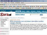 El comunicado, anunciado por Gara en su página web.