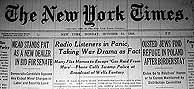Portada del New York Times el día posterior a la emisión del programa.