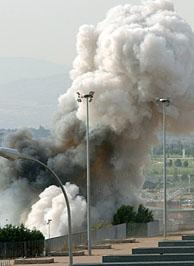 Explosión producida el 26 de junio en el parking del Estadio de la Peineta en Madrid. (Foto: EFE)