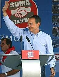 José Luis Rodríguez Zapatero, durante la fiesta minera de Rodiezno. (Foto: EFE)