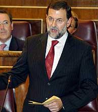 Mariano Rajoy, durante su turno de pregunta. (Foto: EFE)
