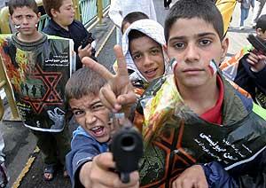 Un grupo de niños, en la celebración del 'día de Jerusalén'. (Foto: EFE)