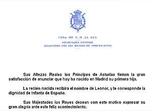 Imagen del comunicado de la Casa Real. (Foto: elmundo.es)