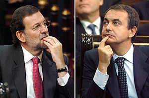 Rajoy y Zapatero, durante el debate de las autonomías. (Foto: EFE)