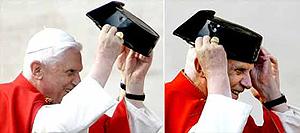 Las imágenes del Papa poniéndose el tricornio. (Foto: AP)