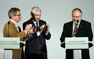 Joan Saura, Pasquall Maragall y Josep Lluís Carod Rovira, en la celebración de los dos años del pacto de Gobierno. (Foto: EFE)