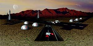 Maqueta del 'puerto espacial' de Nuevo México. (Foto: Virgin Galactic)
