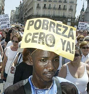 Un activista en la manifestación del 29 de junio en Madrid. (Foto: Bernabé Cordón)
