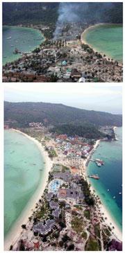 Las Islas Phi Phi, antes y un año después del 'tsunami'. (Foto: REUTERS)
