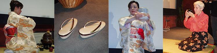 Esta secuencia de imágenes recoge varias fases de la ceremonia y las chanclas que nunca deben calzarse. (Foto: V.H.)
