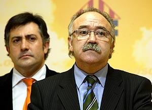 Carod y Puigcercós en la rueda de prensa. (Foto: Domenec Umbert)