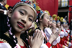 Imagen de la celebración en Lavapiés del fin del pasado año chino. (R. Cases)