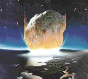 Recreación de la caída del meteorito. (Ilustración: Diario del Yucatán)