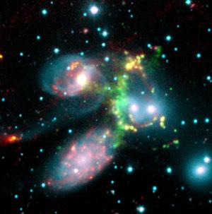 Imagen de la colisión de cinco galaxias en la constelación Pegaso. (Foto: EFE)