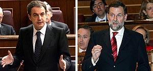 Zapatero y Rajoy, en el Congreso. (Fotos: EFE)