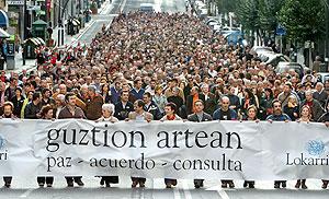 La cabecera de la manifestación. (Foto: