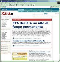 """Imagen de la 'web' del diario Gara que recoge el comunicado de ETA en el que anuncia """"un alto el fuego permanente"""". (Foto: EFE)"""
