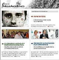 Página principal de la web de la Fundación Miguel Ángel Blanco con la que colabora Cristina Cuesta.