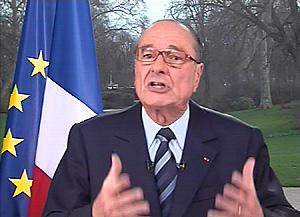 Jacque Chirac en su discurso televisado. (Foto: AFP)