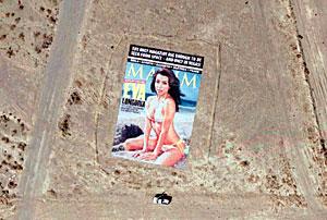 La gigantesca portada de 'Maxim', vista a través de Google Earth. (Foto: AP)