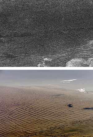 La foto en blanco y negro es de las dunas de Titán; la de color de las de Namibia. (Fotos: Science)