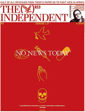 Primera página de 'The Independent' diseñada por Damien Hirst.