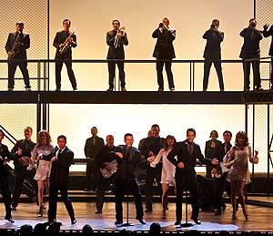 Actores de la obra 'Jersey Boys' durante la entrega de los Tony. (Foto: AP)