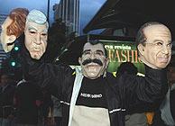 Máscaras del presidente Fox y de los tres pincipales candidatos. (Foto: EFE)