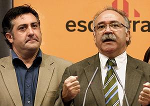Puigcercós y Carod-Rovira , durante su rueda de prensa. (Foto: EFE)