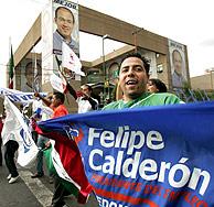 Seguidores de Calderón celebran su triunfo. (Foto: AP)