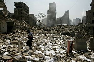Aspecto de un barrio de Beirut bombardeado por la aviación israelí. (Foto: AFP)