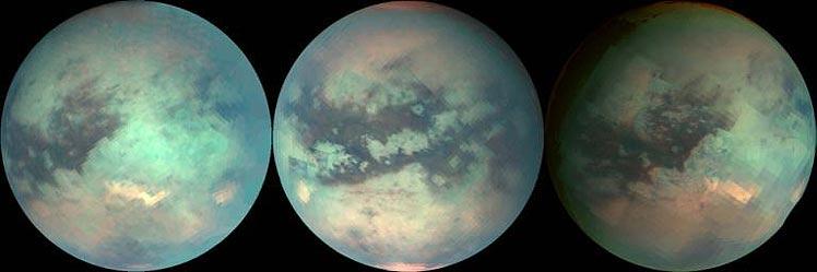 Varias imágenes de las nubes de metano en Titán. (Foto: NASA)