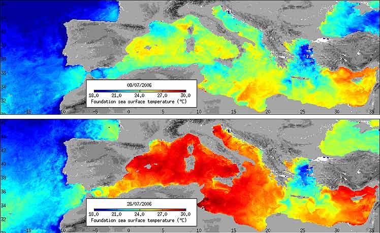 Arriba, las temperaturas el 8 de julio; abajo el 26 del mismo mes. (Fotos: ESA)