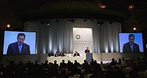 El primer ministro libanés, Fuad Siniora, durante la Conferencia. (Foto: AFP)