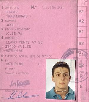 El carné de conducir de Emilio Suárez Trashorras. (Foto: EL MUNDO)