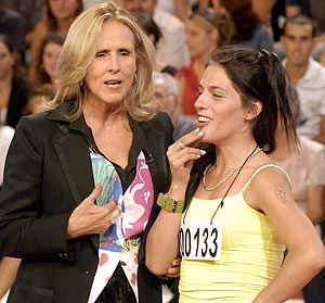 Mercedes Milá con Romina, la falsa premiada.