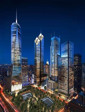 Un montaje artístico muestra como será la Zona Cero con las nuevas torres. (Foto: AP)