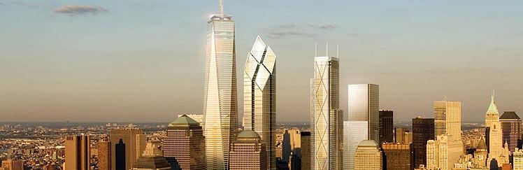 El futuro 'skyline' de Nueva York con los tres edificios diseñados por Foster, Rogers y Maki. (Foto: AP)