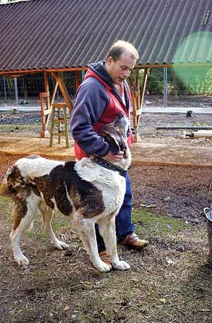 Lavandera junto al mastín que fue el perro favorito de su padre. (Foto: F. Múgica)