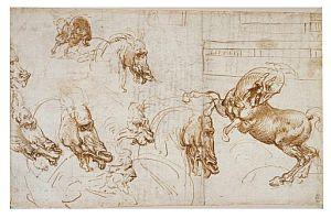 Caballos en acción, con estudios de la expresión de los caballos, león y hombre, y un plano arquitectónico (1505), de Leonardo Da Vinci. (Foto: EFE)