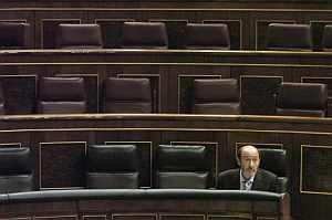 Alfredo Pérez Rubalcaba, durante la sesión de control al Gobierno. (Foto: EFE)