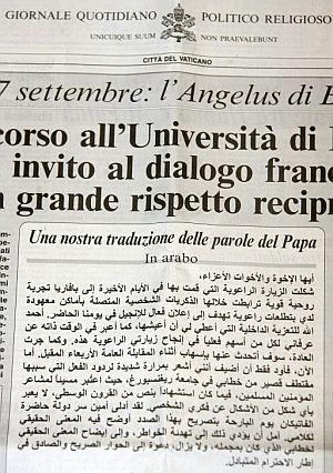 Portada de 'L'Osservatore Romano' del 18 de septiembre. (Foto: EFE)