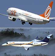 Un Boeing 737-800 y una avioneta Legacy. (REUTERS)