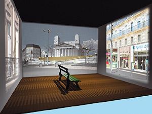 'Place Franz Liszt', videoinstalación de cuatro proyecciones de Benoît Broisat. (Foto: Sala Rekalde)