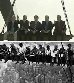 Arriba, los candidatos a la Generalitat; abajo, los obreros del Rockefeller Center. (Foto: Atlas / EL MUNDO) [Vea el vídeo]
