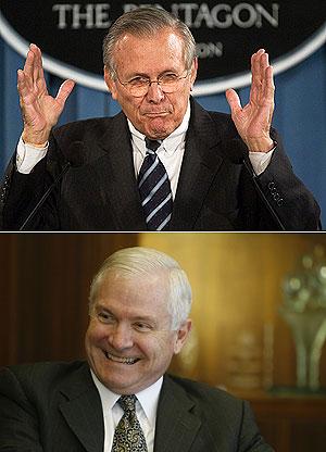 Donald Rumsfeld (arriba) y su sucesor Robert Gates. (Fotos: AP)