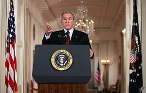 George W. Bush durante la rueda de prensa. (Foto: AFP)