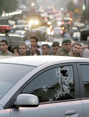 El coche en el que Pierre Gemayel fue tiroteado. (Foto: EFE)