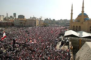Una multitud se congrega en homenaje de Pierre Gemayel. (Foto: AFP)