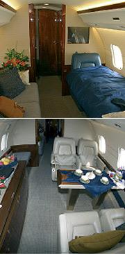 Dos vistas de la cabina de pasajeros del jet.